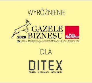 Firma Ditex wyróżniona w 21 edycji rankingu Gazele Biznesu za 2020 rok!